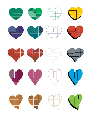 A collection of bstract colorful heart designs Vector