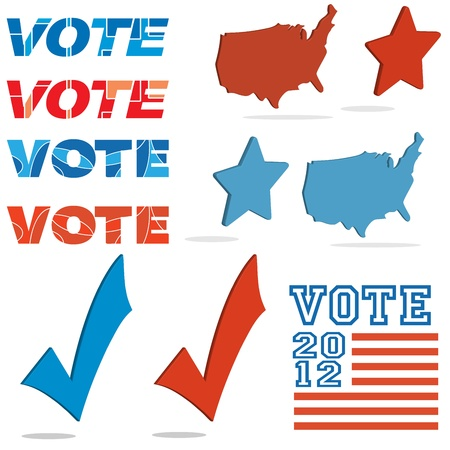 Political election element set Vector