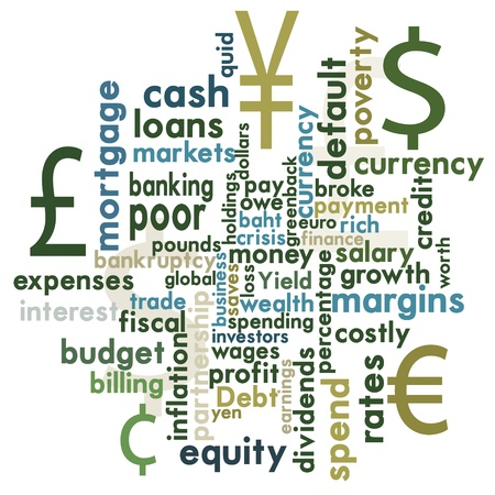 Financial themed word graphic Vector
