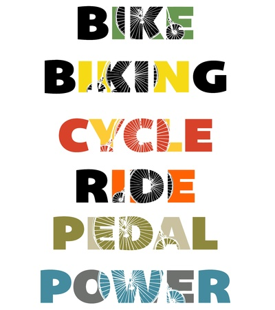 bicycling: Cycling text banners Illustration