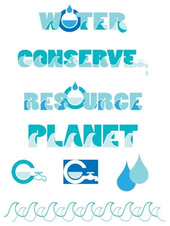 waterbesparing: Waterbesparing graphics Stock Illustratie