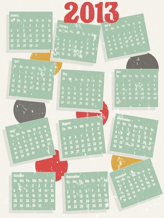 2013 12 month calendar Illustration