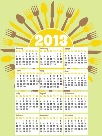 Diner themed Calendar for 2013 Stock Vector - 13229324