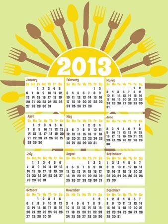 Diner themed Calendar for 2013 Vector