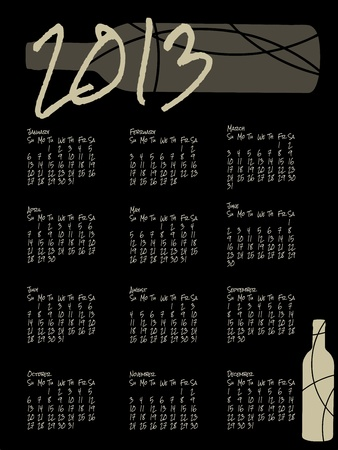 Black wine themed calendar for 2013 Vector