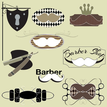 male grooming: Barber shop signs graphics set