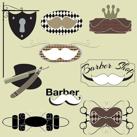 barber shop: Kapperszaak tekenen graphics set