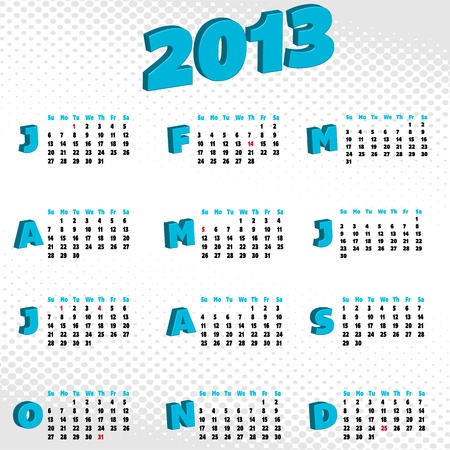 clean and clear 2013 calendar Stock Vector - 13270722
