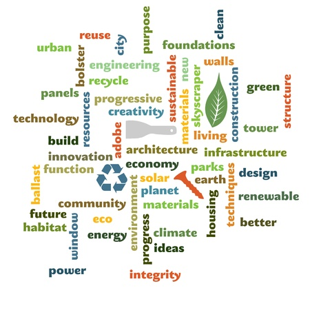 sustainable and eco construction word graphic