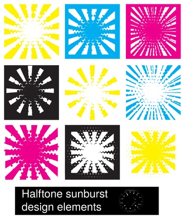 halftone sunburst design elements Vector
