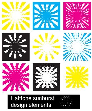 halftone sunburst design elements Stock Vector - 16732726