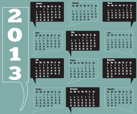 12 month 2013 calendar Illustration