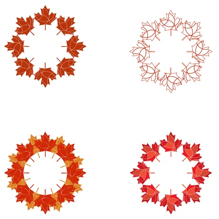 Maple leaf circular patterns Stock Vector - 17212269