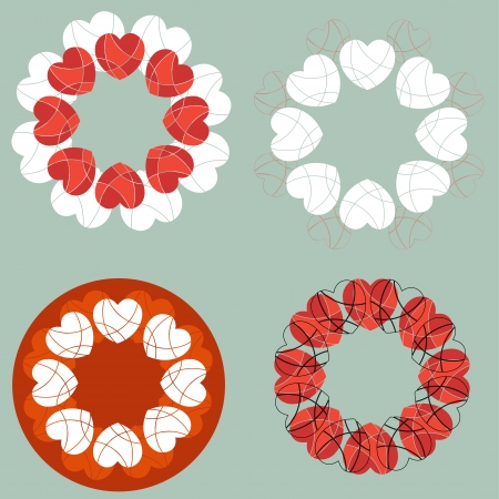A set of love heart design elements