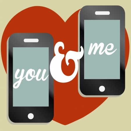 You and me, valentine themed text message illustration Stock Vector - 17301160