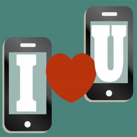 I heart U, valentine themed message illustration Stock Vector - 17301159