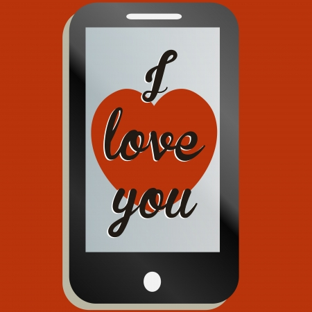 I love you message n a phone illustration Stock Vector - 17301162