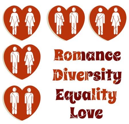 lesbian: Diversit� amour heart icons Illustration
