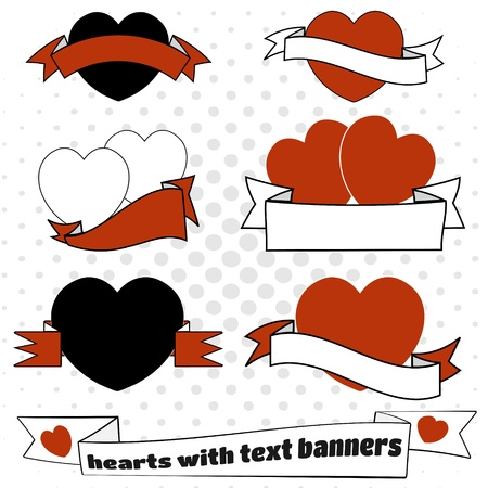 Love hearts with text space ribbons Vector