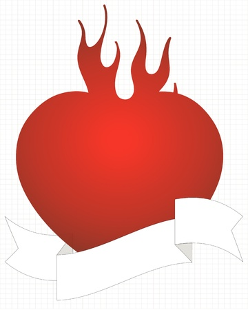 flaming red heart with text ribbon Stock Vector - 17374683