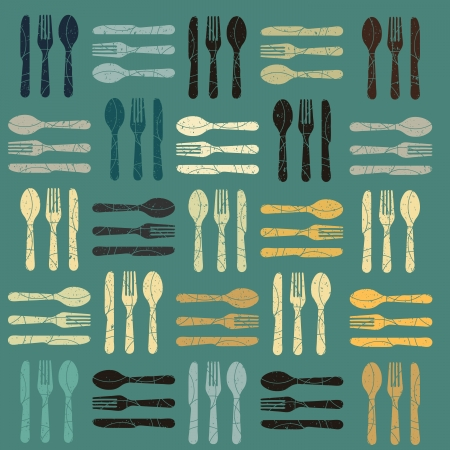 place setting: retro style cutlery pattern Illustration