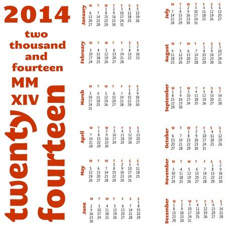 12 month calendar for 2014 Stock Vector - 17776989