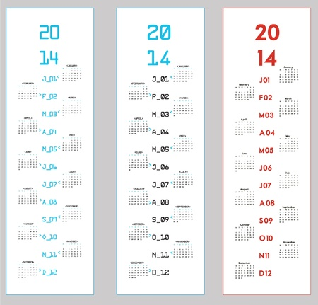3 upright calendars for 2014 Stock Vector - 17776990