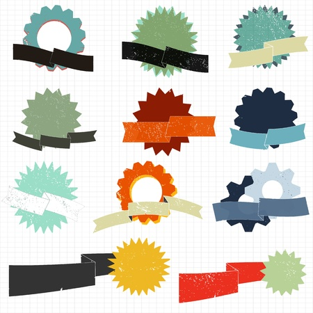 Grunge badge and ribbon set Stock Vector - 18054469