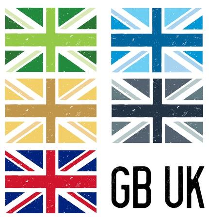 gb: set of grunge UK flags