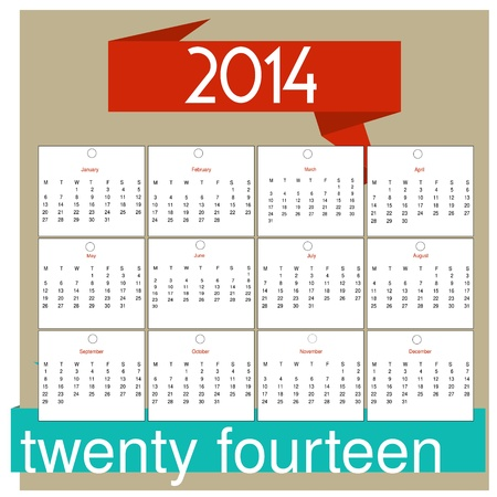 12 month calendar for 2014 royalty free cliparts vectors and stock