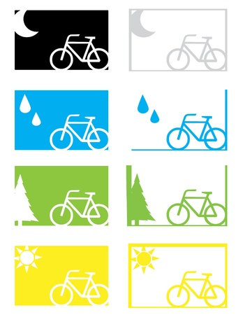 condition: A set of four weather condition cycling graphics