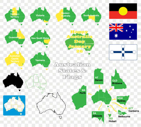 Australian states maps and flags Vector