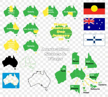 eureka: Australian states maps and flags Illustration