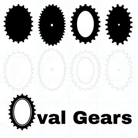 workings: A set of oval shaped cogs Illustration