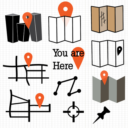 finding: Map and navigation icons Illustration