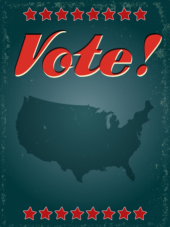 A vintage style USA voting poster