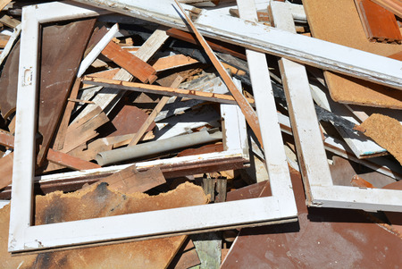 A pile of building scrap from a building being demolished Stock Photo