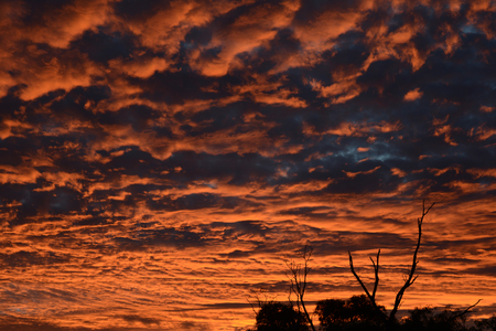 Fiery orange sunset in the clouds