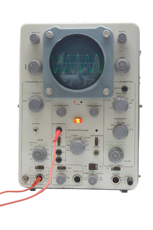 oscillograph: old oscillograph, displaying a sine wave