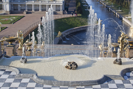 fountains in peterhof russia Editorial