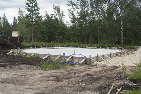 substructure: concrete foundation for new rural house