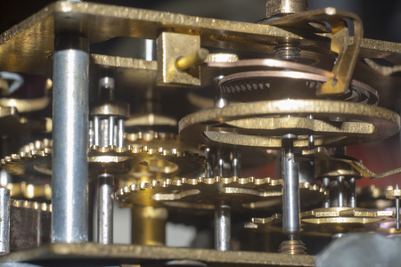 old clock mechanism closeup