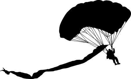 lowering parachutist with multicolored parachute vector silhouette