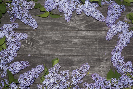 bunches of lilac on a grunge rough wooden background  postcard template