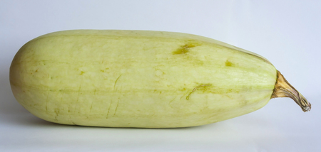 the green zucchini on white background