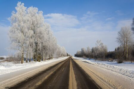 slippery winter road in the countryside 写真素材