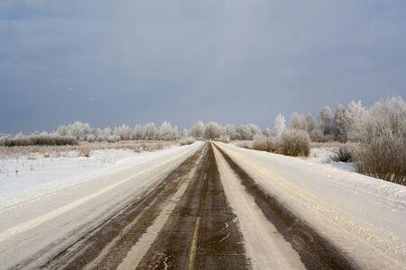 slippery winter road in the countryside Stok Fotoğraf