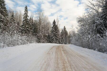 strada sdrucciolevole invernale attraverso la foresta in campagna