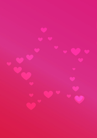 Two red hearts on the right side of the vector with many red hearts in the background. All is on a red background with light in the left side of the vector.