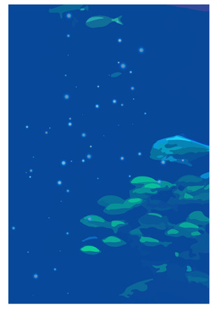 fishes and jellyfishes swimming under light